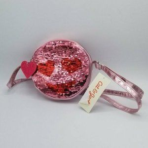 Cat & Jack Pink Smiling Face Hearts Sequins Purse